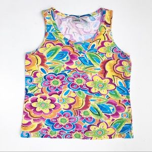 Chico's Bright Colorful Floral Printed Tank Top Lg